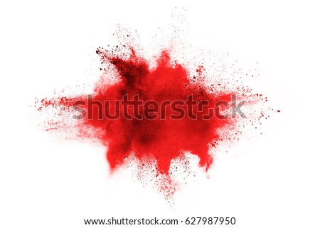 Photo of  Red powder explosion on white background. Colored cloud. Colorful dust explode. Paint Holi.