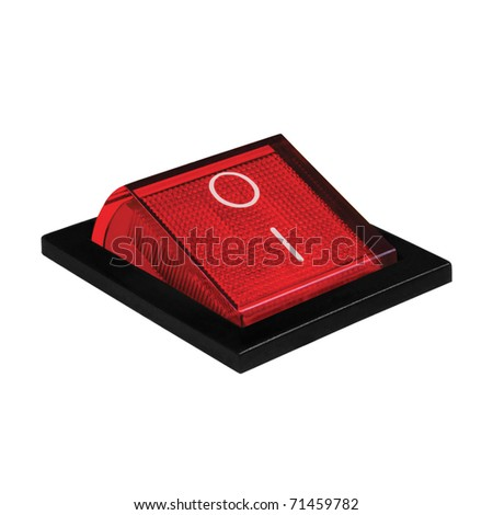 Red power switch at on position, isolated macro closeup