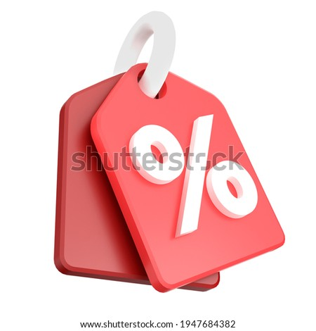 Red price tag label with percentage for  sale marketing promotion icon 3D render illustration