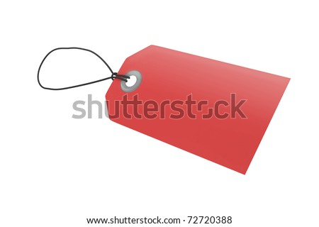 Red price tag with clipping path - stock photo