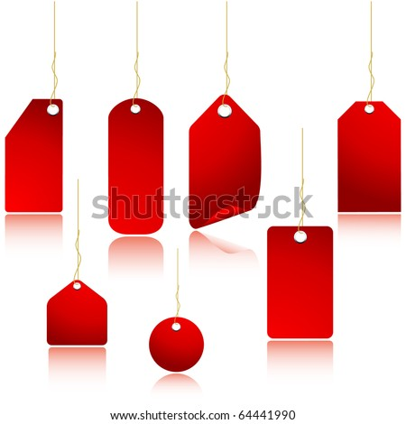 Red price tags set isolated on white
