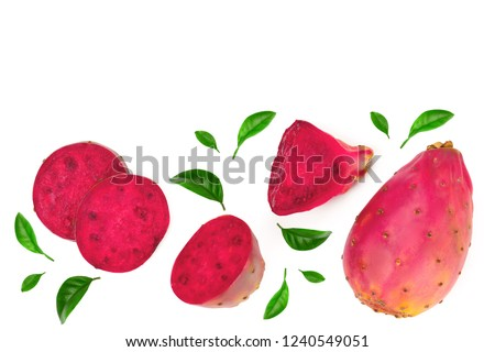 red prickly pear or opuntia isolated on a white background with copy space for your text. Top view. Flat lay #1240549051