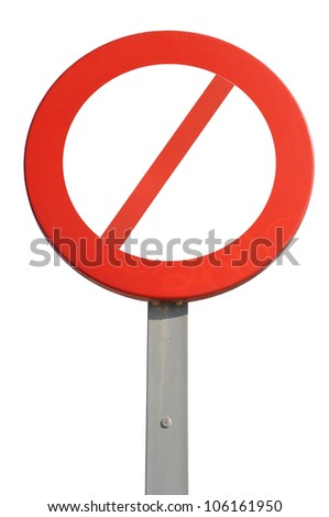red prohibited sign isolated on white background