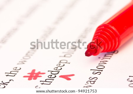 Red Proofreading Marks and Pen Closeup - stock photo