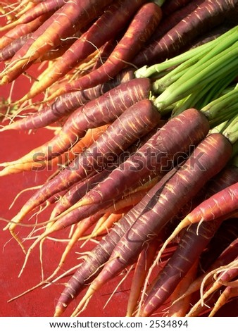 Red, purple and orange carrots