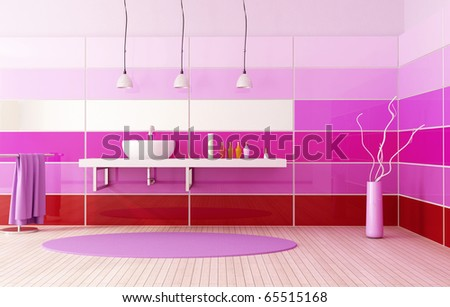 red  purple and pink contemporary bathroom