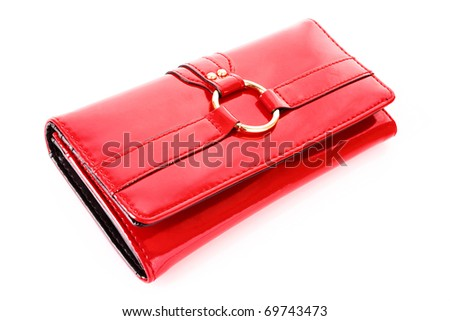 red purse on a white background