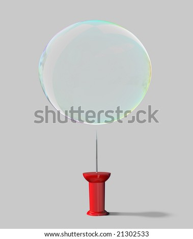 Red push pin with a soap bubble above.