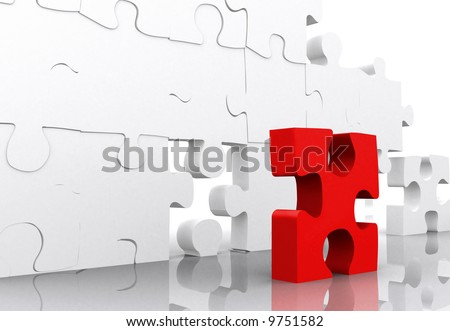 red puzzle piece in front of a big jigsaw-puzzle