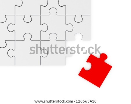 Red puzzle piece leaving from the corner of whole puzzle, isolated on white background.