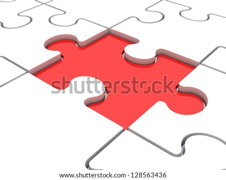 Red puzzle piece lower than white jigsaw pieces.