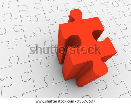 Red puzzle piece projecting from grey puzzle