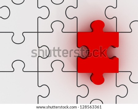 Red puzzle piece standing out from other white pieces.