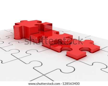 Red puzzle pieces as puzzle diagram chart, isolated on white background.