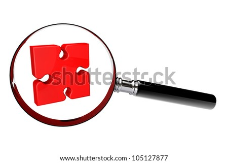 Red Puzzle under magnifying glass on a white background