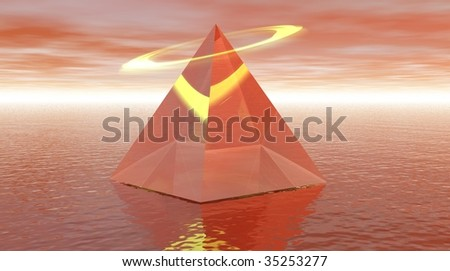 Red pyramid with halo and over the sea