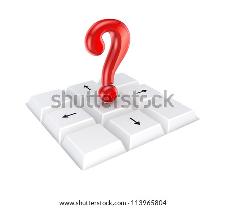 Red query mark on a keyboard.Isolated on white background.3d rendered.