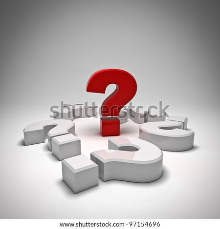 Red question mark on white background