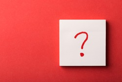 Red Question Mark Written On Note Isolated.