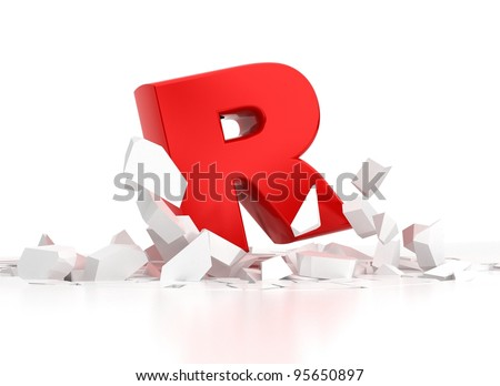 red R letter breaking white surface on white background