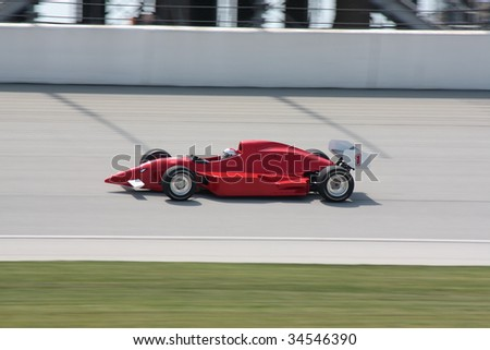Auto Racing Tracks on Red Race Car On Race Track No 1 Stock Photo