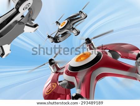 Red racing drones chasing  in the sky. 3D rendering image in original design.