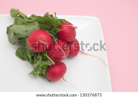 red radish in a bowl on a pink background