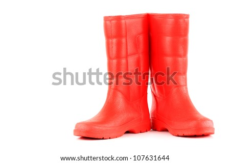 red rainboots isolated on white background