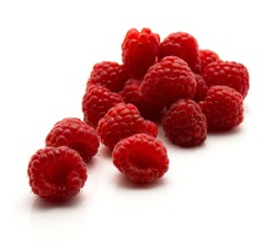Red raspberries isolated on white background fresh heap