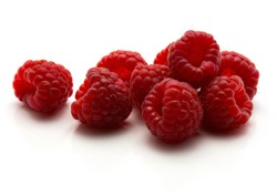 Red raspberries isolated on white background heap