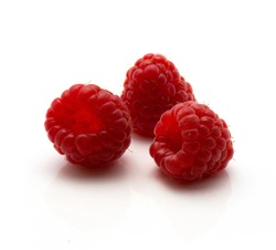 Red raspberries isolated on white background three fresh