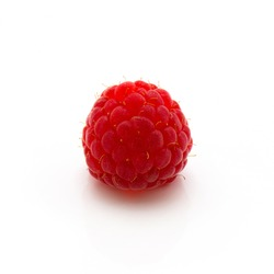 Red raspberry isolated on white background