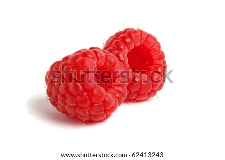 red raspberry on white