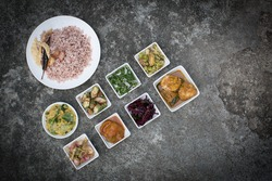 red raw rice.Sri lankan healthy food with srilankan's delicious curry dishes.