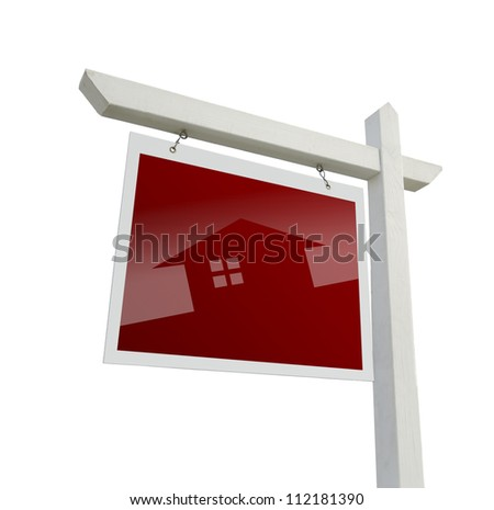 Red Real Estate Sign with House Silhouette with Clipping Path.