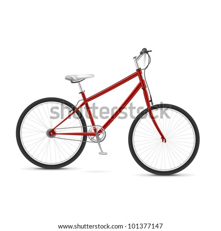 Red realistic bicycle Isolated over white