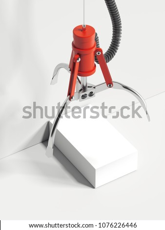 Red realistic claw machine takes white box on white background, 3d rendering