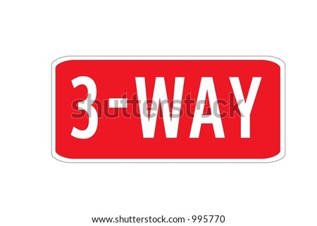 Red Rectangular sign with a message of 3-way isolated on a white background.  This traffic sign is usually used in conjunction with US stop signs.