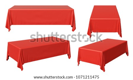 Red rectangular tablecloth set isolated on white, 3d illustration collection