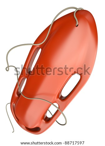 Red rescue buoy isolated on white background. 3D render.
