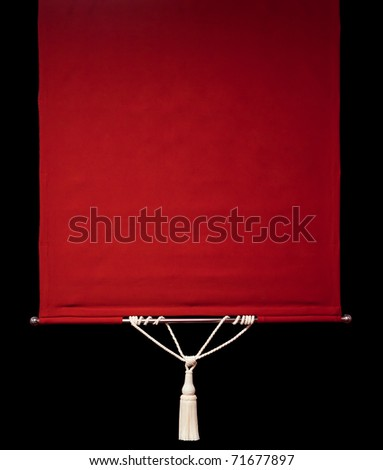Red retro curtains with rope tassel isolated on black