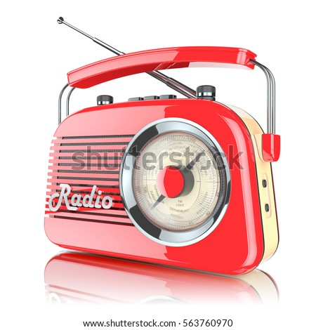 Red retro radio receiver isolated on white background 3d