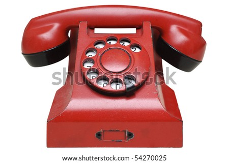 Red retro telephone isolated in white background