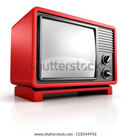 red retro TV on white background