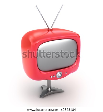 Red retro TV Set. Isolated on white background. My Own Design