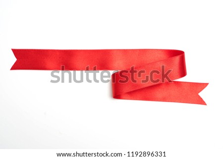 red ribbon banner on white background #1192896331