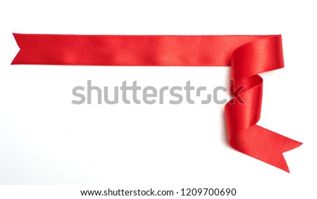 red ribbon banner on white background #1209700690