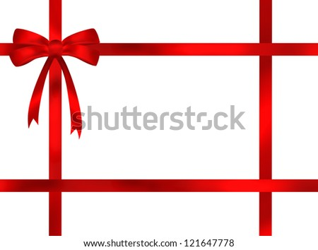 Red ribbon bow frame illustration on white background. Present style with empty space