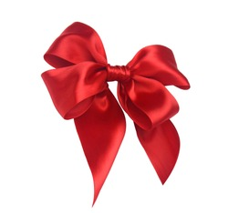 Red ribbon bow isolated on white background including clipping path