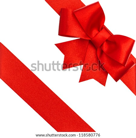 red ribbon bow isolated on white. holiday background